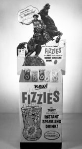 Fizzies store display featuring John Payne of NBC and ABC's Restless Gun - 1958