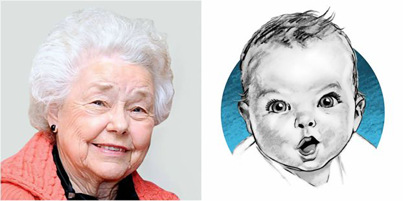 Photo of Ann Turner Cook and the Gerber baby drawing.