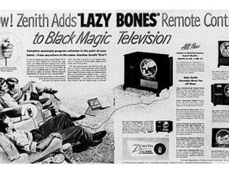 Ad for Zenith Lazy Bones TV remote control 1950s