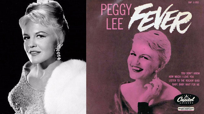Peggy Lee and the 'Fever' album cover, 1956