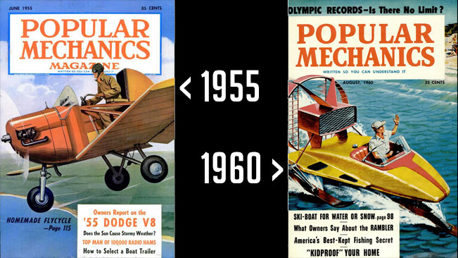Popular Mechanics Magazine Covers, 1955 and 1960
